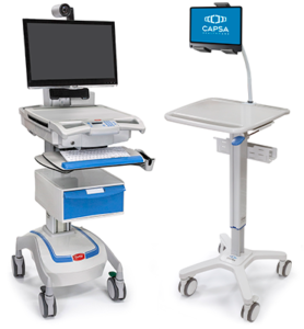 M38e Telepresence, left and SlimCart™ with Flex Arm attachment, right